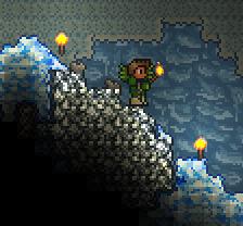 玩家在冰洞中找到了一团银矿