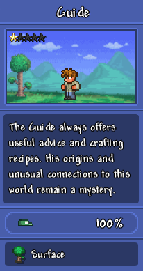 "A screenshot of the Guide as depicted in the Bestiary, showing him with a background of the surface, with the description, ""The Guide always offers useful advice and crafting recipes. His origins and unusual connections to this world remain a mystery."""